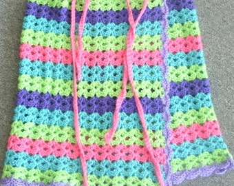 Lime Pink Purple Blue Stripe Hand Crocheted Wrap Skirt Cover Up Swim Cover Beach Skirt