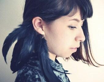 Raven Black Crow Feather Ear Cuff/ Black Feather ear Cuff/ Feather Ear Wrap/ Festival Jewelry/ Boho Chic