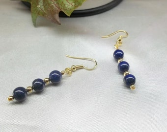 14k Gold Lapis Earrings Blue Lapis Earrings Lapis Lazulli Earrings Gold Filled Earrings Lever Back Earrings Dangle Earrings BuyAny3&Get1Free