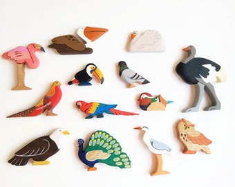 Birds set (13pcs) Birds toys Waldorf nature table Birds figurines Toy birds Toys for toddlers