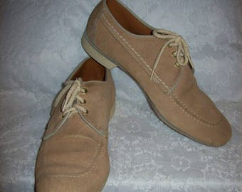 Vintage Mens Tan Suede Leather Right Handed Bowling Shoes Oxfords by Dexter Size 9 1/2 Only 18 USD