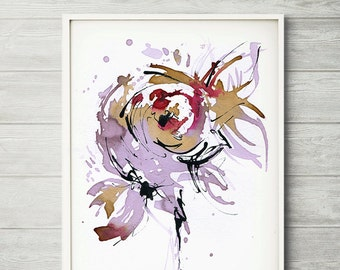 The Light, wine art, wine painting, COFFEE PAINTING, pink flower painting, abstract flower painting, abstract flower print