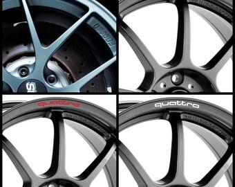 x8 AUDI QUATTRO Rims Alloy Wheel Decals Stickers Graphics Kit S1 S3 S4 S5 S6 Rs3 Rs4 Rs5 Rs6 A3 A4 A5 A6 A7 Tt R8 S Line - All models