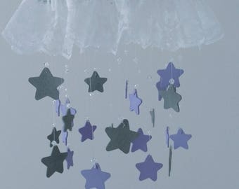 Purple and Gray Baby Mobile, Stars and Crystals, Wood Stars, Baby Girl, Girl Room, Nursery, Nursery Decor