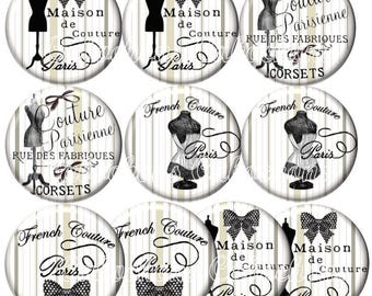 Set of 10 illustrated cabochons 25mm glass cabochons images vintage corset bustier