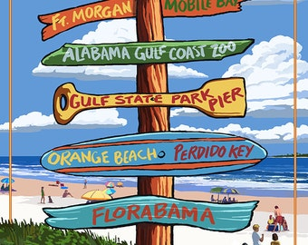 Gulf Shores, Alabama - Sign Destinations (Art Prints available in multiple sizes)