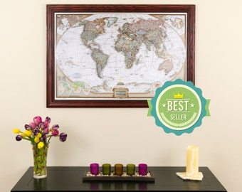Push pin travel map etsy personalized executive world travel map with pins and frame push pin travel map world gumiabroncs Image collections