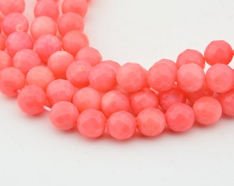 15.5 Inch  Pink  Coral  8mm Faceted   Round Bead ,  Semi Precious Coral