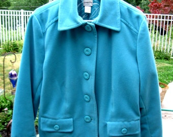 Chico Button Down Jacket,Vintage Jackets,Ocean Blue Jacket,Short Waist Length Jackets, Fleece Jacket