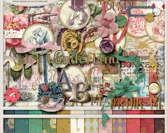 Alice In Wonderland, Scrapbook Kit, Digital Scrapbooking, Scrapbook Paper, Clip Art, Mad Hatter Tea Party, Gold Foil Pattern, Gold Texture