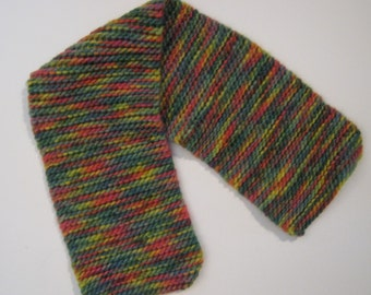 Knit Wool Neckwarmer in Greens and Blues