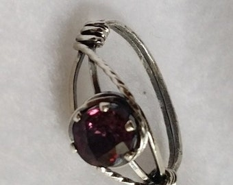 End of May Sale The perfect JANUARY BIRTHSTONE gift.  A natural deep pinkish purple, untreated stone with beautiful color in sterling silver