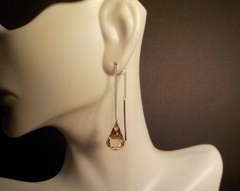Clear Tear Drop Swarovski Crystal Ear Threads
