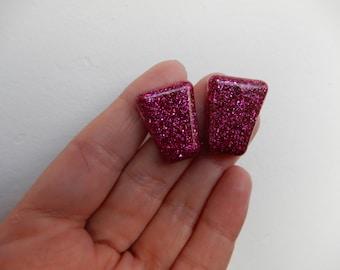 Pink glitter handmade resin trapezoid earrings fakelite big statement earrings