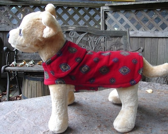 Burgundy Medallion and Corduroy Pet Jacket- Size XX Small- 8 to 10 Inch Back Length - Or Custom Size