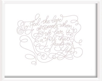 Pablo Neruda Hand Lettered Print
