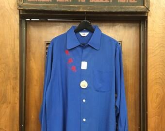 Vintage 1950s Blue Rayon Car Embroidered Loop Collar Rockabilly Shirt, Deadstock, 1950s Shirt, Vintage Clothing, Vintage Shirt