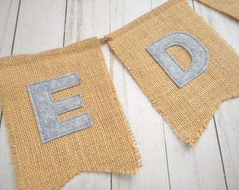 Burlap banner with felt letters, Last name wedding sign, Rustic decor, Name Banner