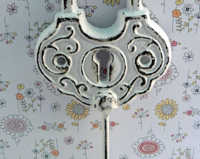 Padlock Shabby Elegance Hook Jewelry Holder Lock Key Hook Classic White Leash Jewelry Coat Hat Keys Bathroom Towel Mudroom Nursery  Hook