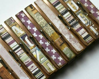 Beautiful Dreamer Clothespins set of 10 Decoupage Clothespins