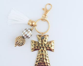 Hammered Gold Cross Key Chain/Cross Key Chain/Gold Key Chain/Religious Key Chain/Christian Key Chain/Religious Gifts/Small Group Gifts