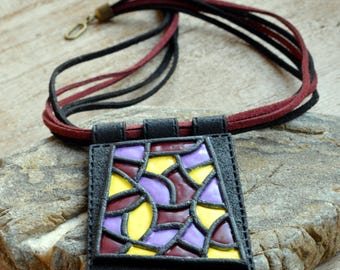 Modern jewelry Design necklace Contemporary jewelry Fashion jewelry Large pendant necklace Polymer clay jewelry for women Abstract necklace