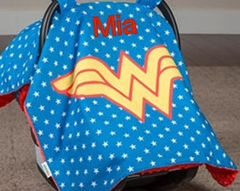 Wonder Woman Baby Car Seat Canopy Baby Car Seat Cover Red Minky Blanket Personalized blanket Custom Canopy Baby Shower Gift Baby Car Seat