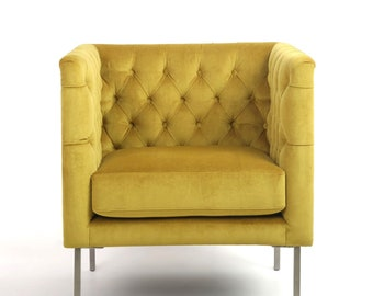 Gold Mustard Chesterfield Brushed velvet armchair. Accent chair. Designer Bespoke. Free UK delivery.