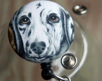 Name badge fabric covered badge reels sweet black and white dog design