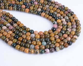 6MM262 6mm Ocean agate round ball loose gemstone beads 16""