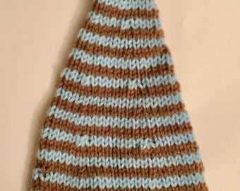 Baby Elf Hat, cocoa brown and light blue .