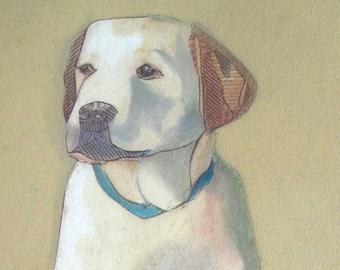 Yellow Labrador Retriever, Puppy, Yellow Lab, Collograph, Dog Print - Zach's First Day Home 2