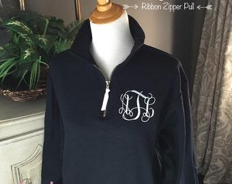 Monogram Sweatshirt | Quarter Zip Pullover | Monogrammed 1/4-zip sweatshirt | Preppy Sweatshirt | Initial Sweatshirt