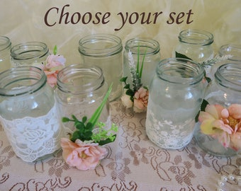 Lace candle holders, lace jars, jar candle holders, wedding decor, guest book table decor, union ceremony, Christmas decor, boho decor