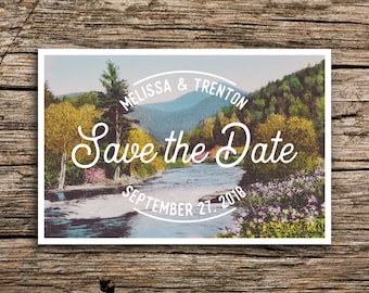 Mountain River Save the Date // Postcard Save the Dates Mountain Wedding Postcards Pacific Northwest Blue Ridge Smokies Summer Spring
