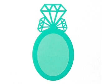 2pcs Diamond Cluster Cameo Setting - for 40x30mm Cameo - Laser Cut - (You Select the COLOR and if you want them with Holes or No Holes)