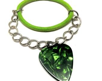 Green Guitar Pick Bracelet / Music Lover Gift
