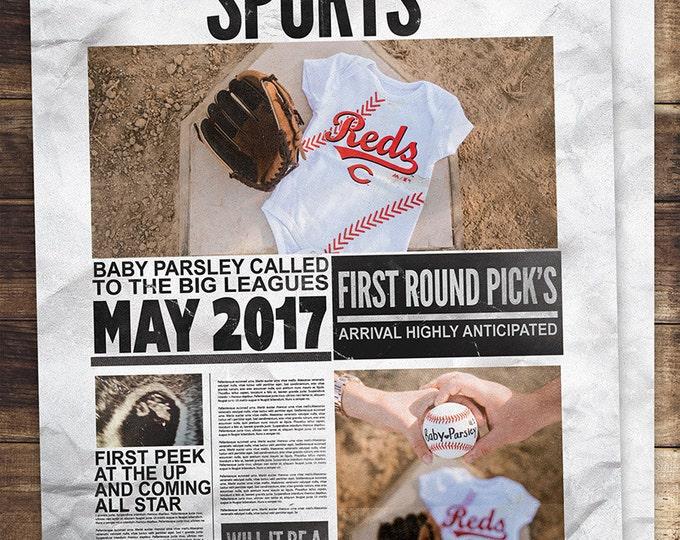 NEWSPAPER pregnancy announcement, birth announcement, baby boy, sports, football, baby shower, baseball, invitation