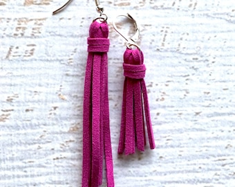 Mommy and Me Faux Suede Tassel Earrings