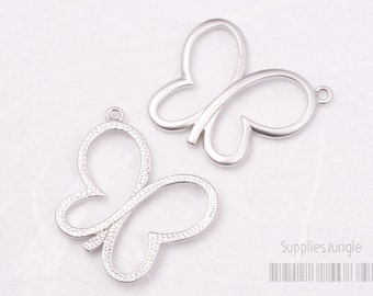 P382-MR// Matt Rhodium Plated Butterfly Pendant, 2pcs