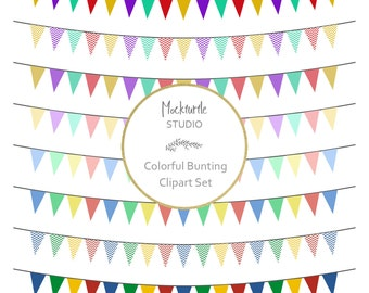 Bunting Flags Clipart - 8 images, 300dpi, PNG & EPS files - Bunting Clip Art - Banner Clipart - Instant Download