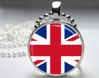 UK England Flag Round Pendant Necklace with Silver Ball or Snake Chain Necklace or Key Ring