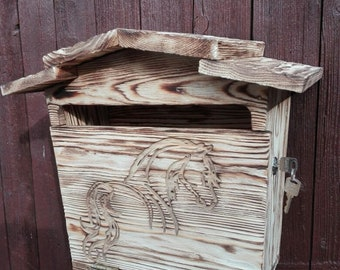 Wooden letter box, flamed, carved, in different variants