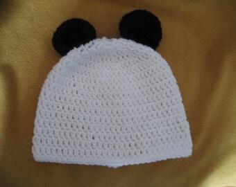 Panda hand crochet stocking hat