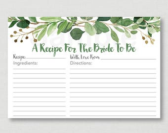 Green Floral Bridal Shower Recipe Cards / Green Floral Bridal Shower / Watercolor Floral / Printable Recipe Card / INSTANT DOWNLOAD B115