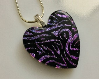 Dichroic Heart Pendant, Fused Glass Jewelry, Purple Pink Dichroic Heart Necklace