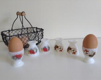 Arcopal egg cups, kitchen decor art deco retro vintage white glass flowers