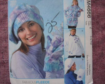 2000s sewing pattern McCalls 4666 Womans' unlined jackets  hats and mittens size Lrg- Xlg UNCUT