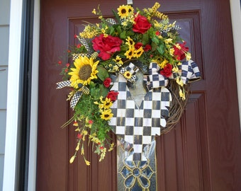 MEMORIAL DAY SALE,    Black and White check Rooster Wreath