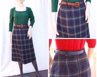 Tweed Wool Midi Knee Length Vintage Skirt Plaid